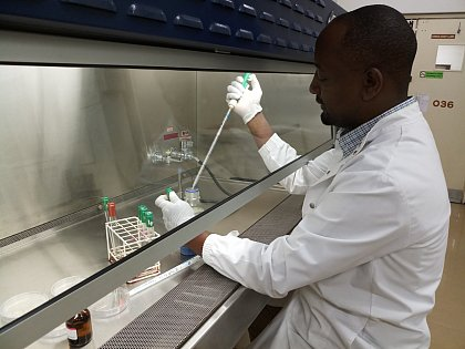 Alphonce in laboratory of the Department of Biological Sciences, University of Botswana (Source: Katlego Makale)